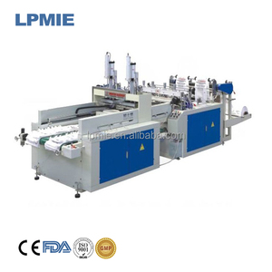 Computer double lines full automatic T shirt plastic bag making machine For HDPE,LDPE printed or white black bag