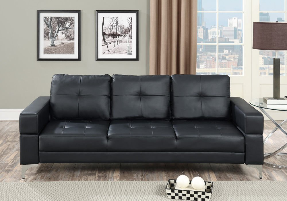 1perfectchoice Living Room Adjule Sofa Bed Couch Futon Tufted Black Faux Leather Metal Legs