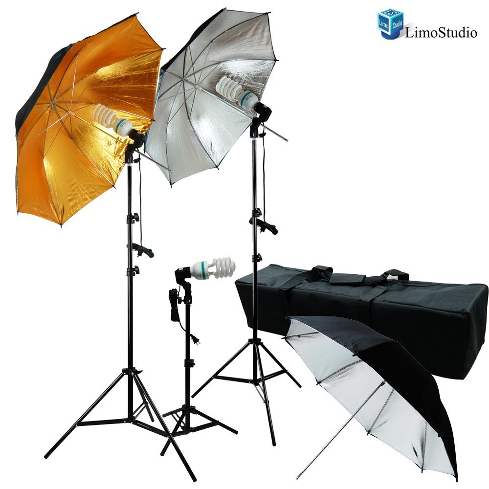 LimoStudio 600W Photo Video and Portrait Studio Umbrella Kit With (3x) 45 Watt, 6500K Daylight Balanced CFL bulbs, Gold/Black and Silver/Black Reflective Umbrellas, Stands, and Carrying Case, AGG1295