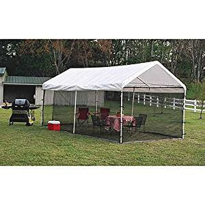 ShelterLogic® Heavy-duty, Durable, Easy-to-install, Canopy Screen Kit 10-Foot x 20-Foot- Includes: screen kit with double zippered doors, bungee cords, and easy step-by-step instructions