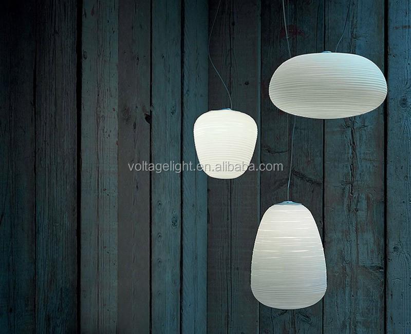 Decorative Glass Pendant Light White Color Restaurant Glass ...