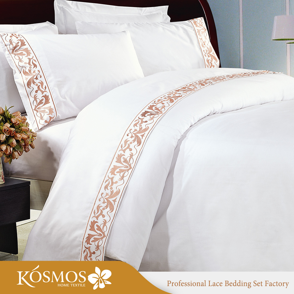 Hotel Poly cotton embroidery bedsheet lace bed sheets for pakistan