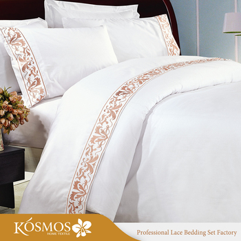 Hotel Poly Cotton Embroidery Bedsheet Lace Bed Sheets For Stan