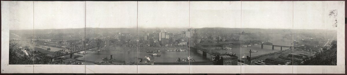 "c1908 City of Pittsburgh 36"" Vintage Panorama photo"