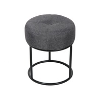 Bailey modern fabric round metal stool chair ottoman