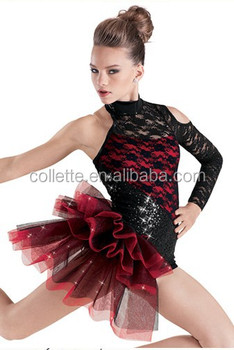 a1679f7f5819 Mbq345 Adult Red Lycrial Black Lace One Sleeve Tank Leotard Child ...