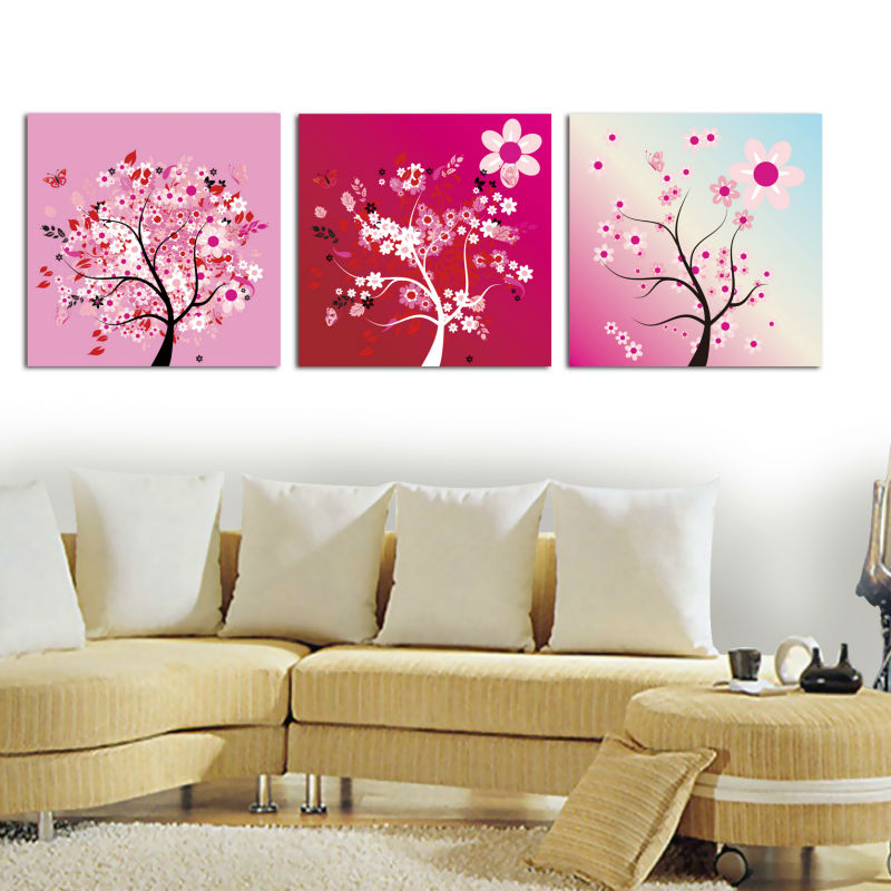 Lily Floral 3 Panel Canvas Wall Art Painting For Living Room Buy 3