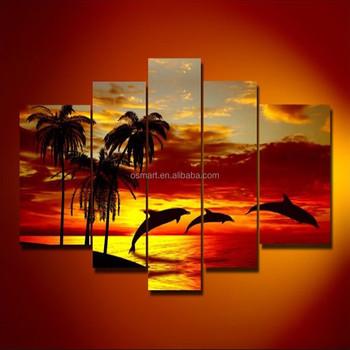 Matahari Terbenam Yang Indah Lanskap Buatan Tangan Lumba Lumba