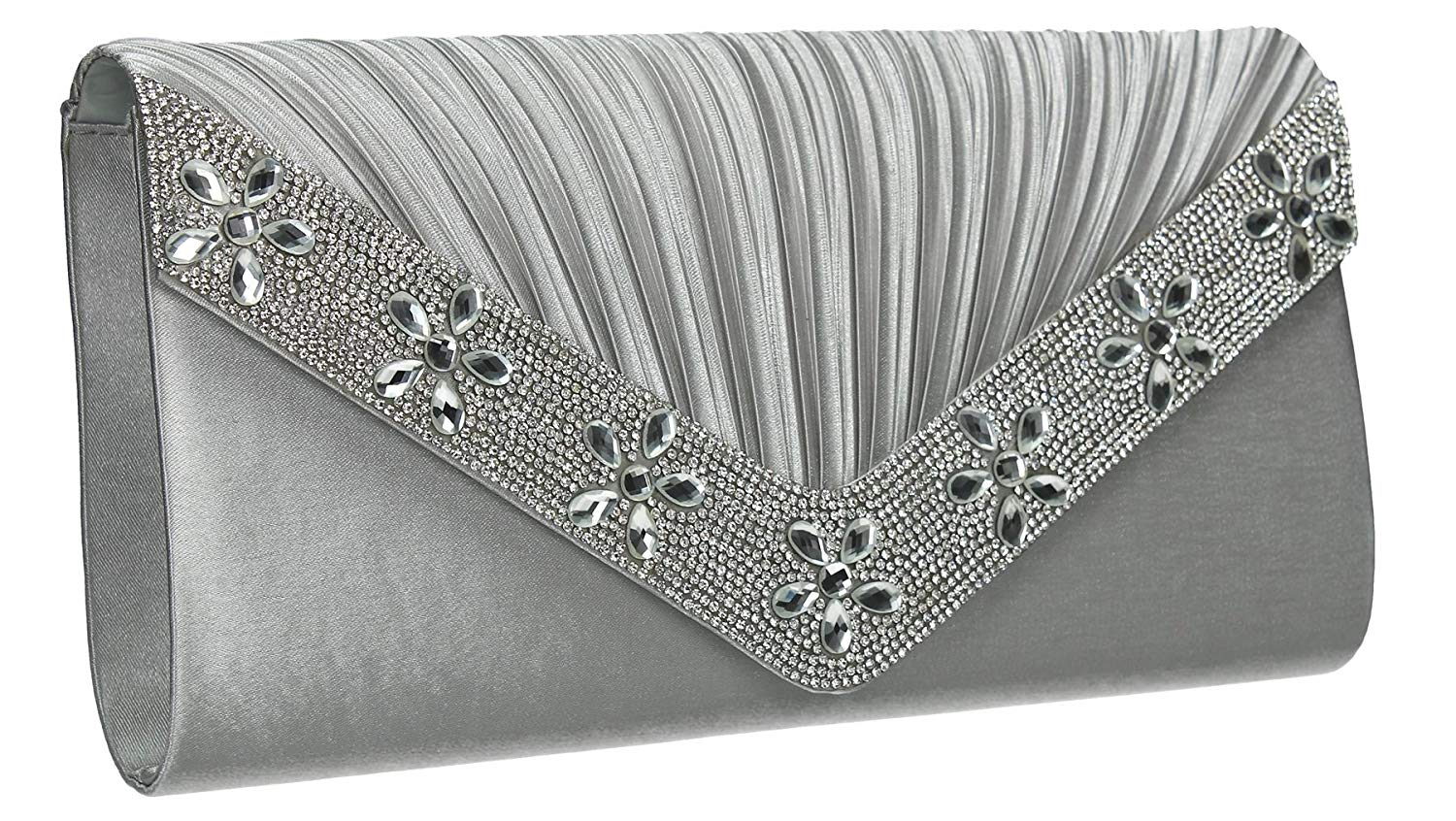 Rylie Envelope Glitter Sparkle Diamante Womens Party Prom Wedding Ladies Clutch Bag - SWANKYSWANS