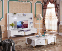 Modern White Living Room Low Price Lcd Tv Table With Display Cabinet