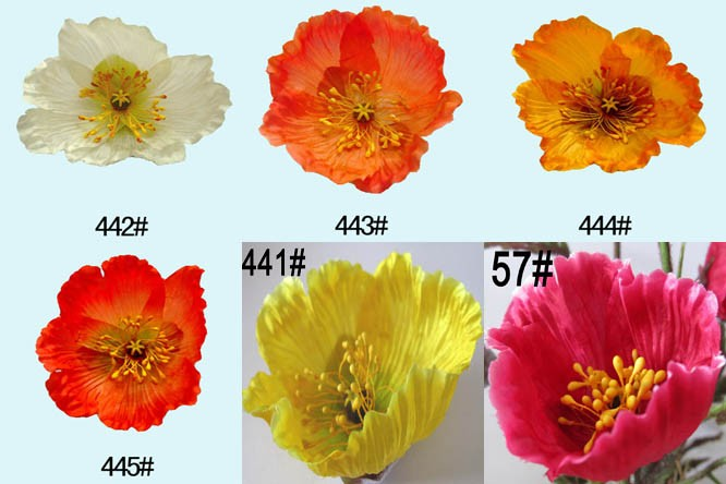 Worldwide Popular Fabric Artificial Flower Poppy in Pot