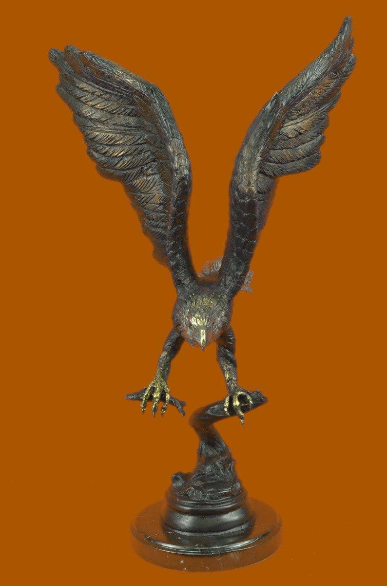 ...Handmade...European Bronze Sculpture Signed Moigniez Eagle Catch Fish (56442-UK) Bronze Sculpture Statues Figurine Nude Office & Home Décor Collectibles Sale Deal Gifts
