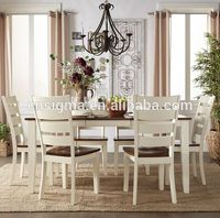 2016 European style oval table and high back chair wood Dining table set