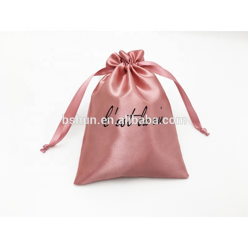 공장 custom drawstring Rose 금 satin jewellery pouch 와 logo printing