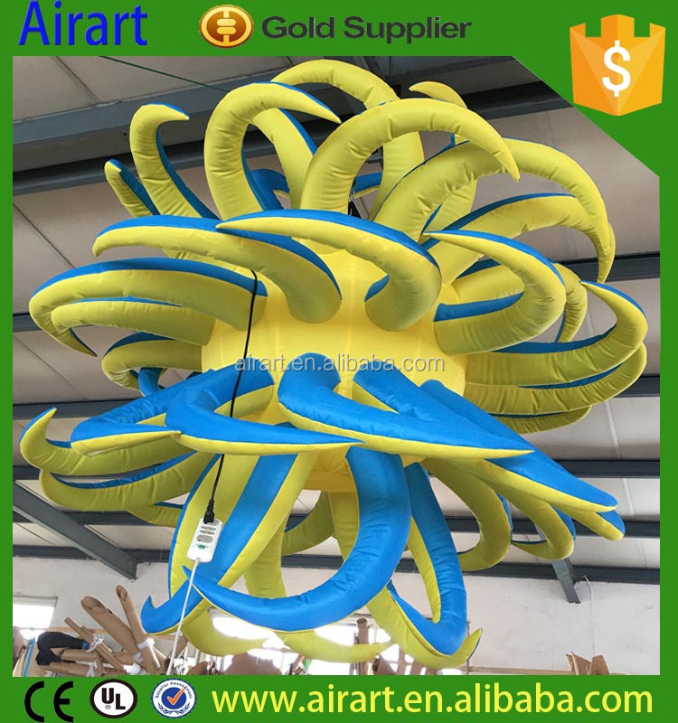 2016 newly club event decoration/club stage hanging inflatable yellow star/orange flower