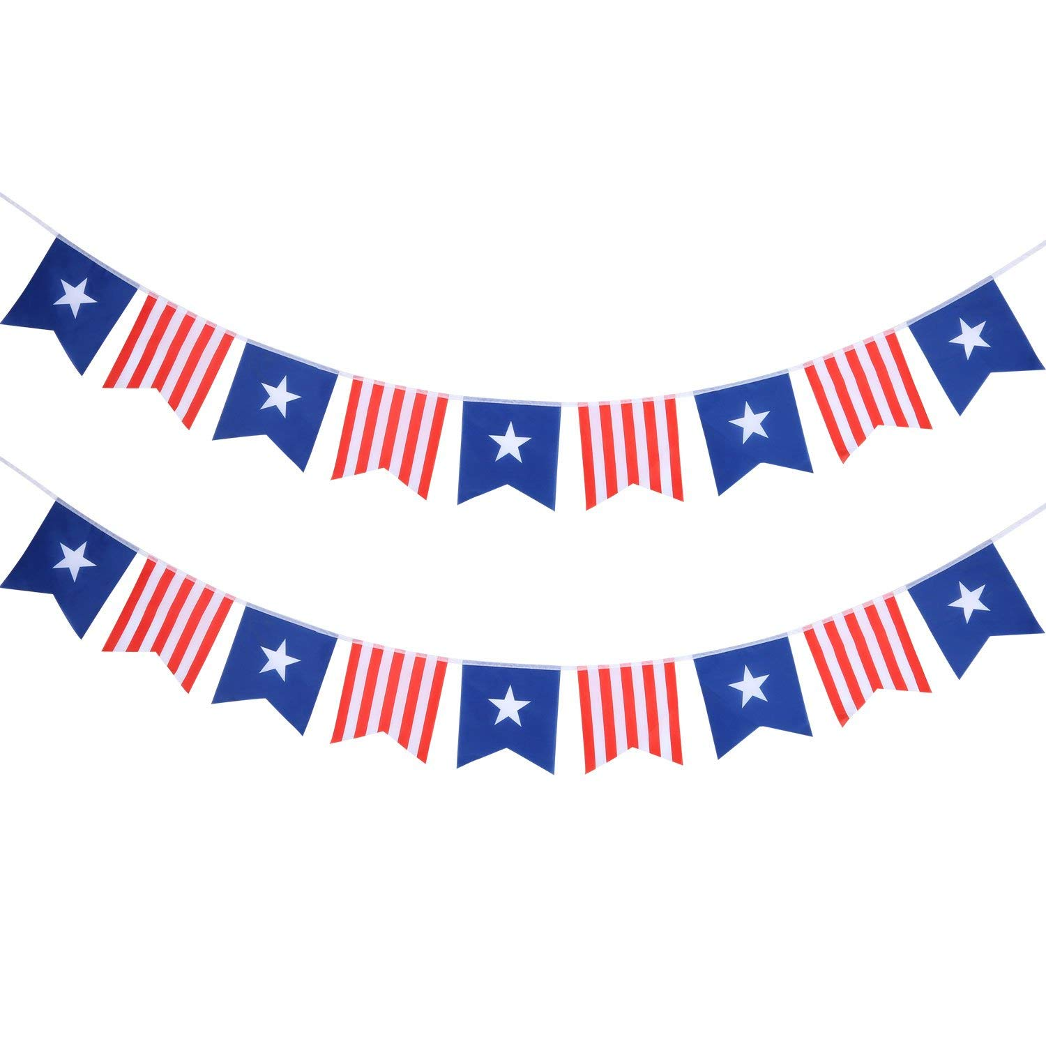 BBTO 2 Pack Star Streamers Banner for Nautical Wedding Memorial Day Veterans Day Birthday Celebration Labor Day Holiday Party Decorations (Red White Blue)