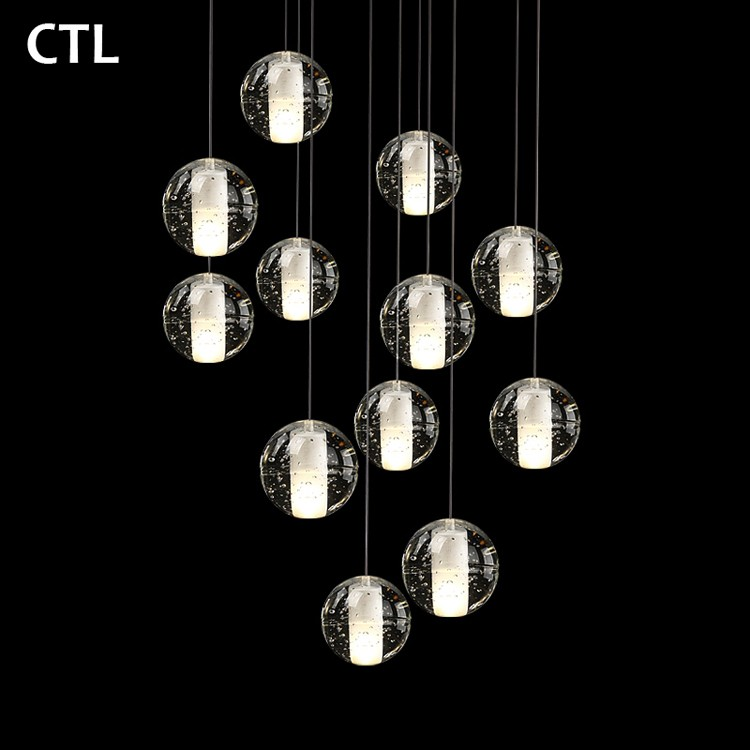 Crystal ball pendant lighting lamps round led ceiling lights hotel crystal ball pendant lighting lamps round led ceiling lights hotel restaurant large modern crystal chandelier aloadofball Image collections