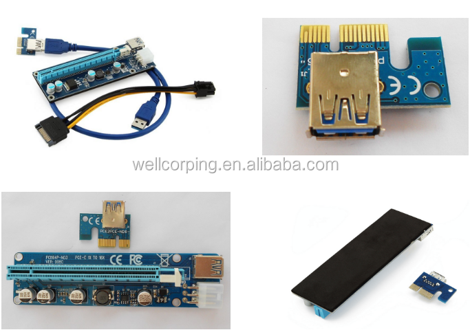 PCI-E Version 008C 1x to 16x USB Riser Powered Adapter Card with 60cm USB 3.0 Extension Cable and Sata To 6pin power cable