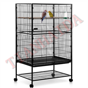 Black Large Parrot Bird Finch Wrought Iron Flight Cage With Perch Stand