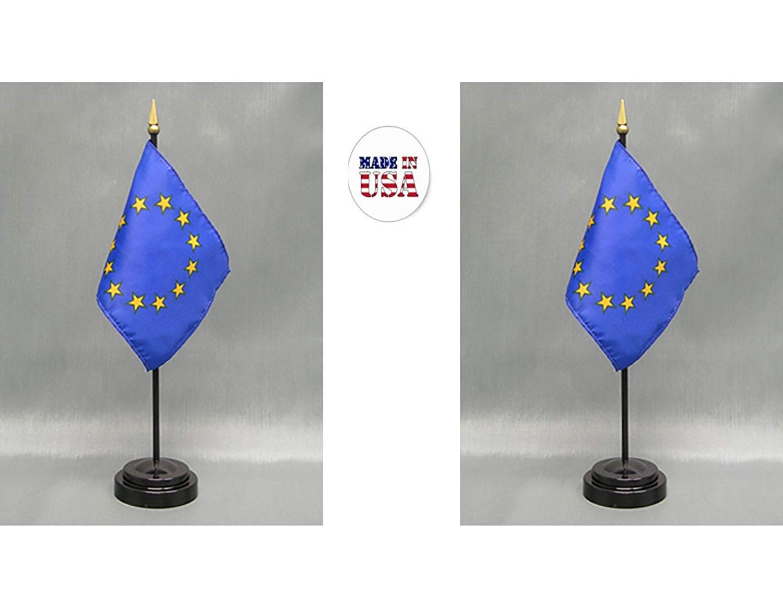 Europe European Union Flag 4x6 Desk Set Table Stick Gold Base Garden & Patio