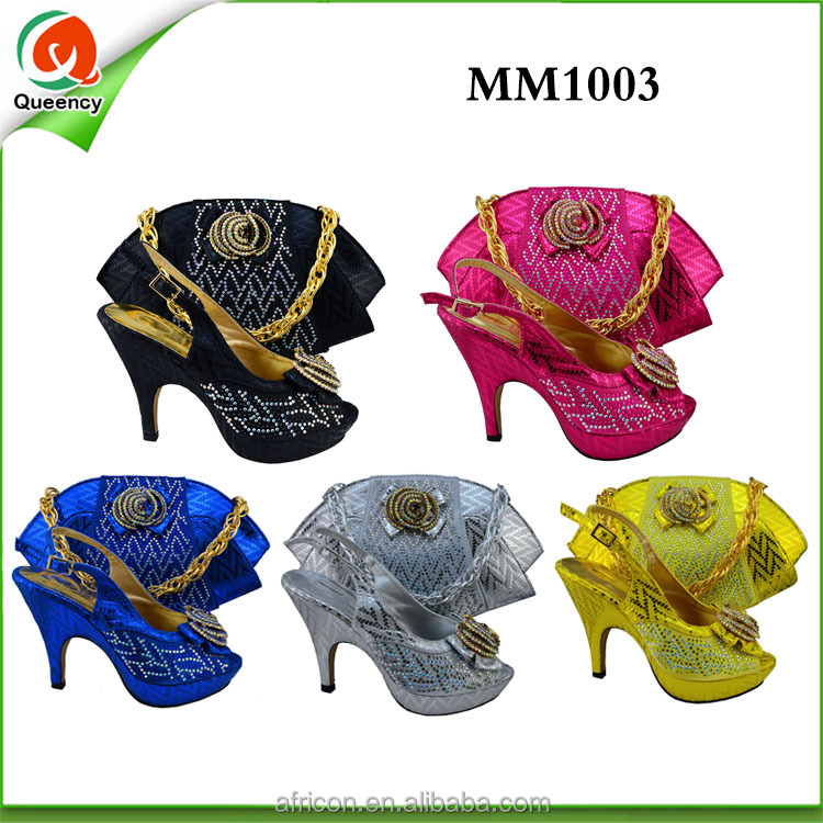 2016 luxury wedding/ party high heel shoes and bags MM1003-5 yellow