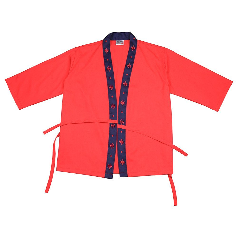 AIHOMETM High-end Japanese Style Chef Jacket Uniforms for Sushi Shop Waiter Waitress Work Clothes Overalls for Japanese Cuisine Restaurant (Red;Size L)