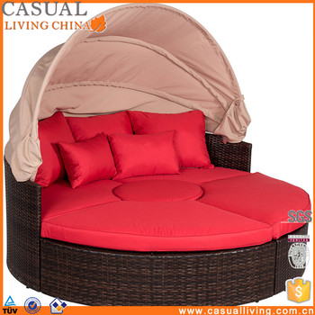 Daybed Patio Sofa Furniture Round Retractable Canopy Wicker Rattan Outdoor Set With