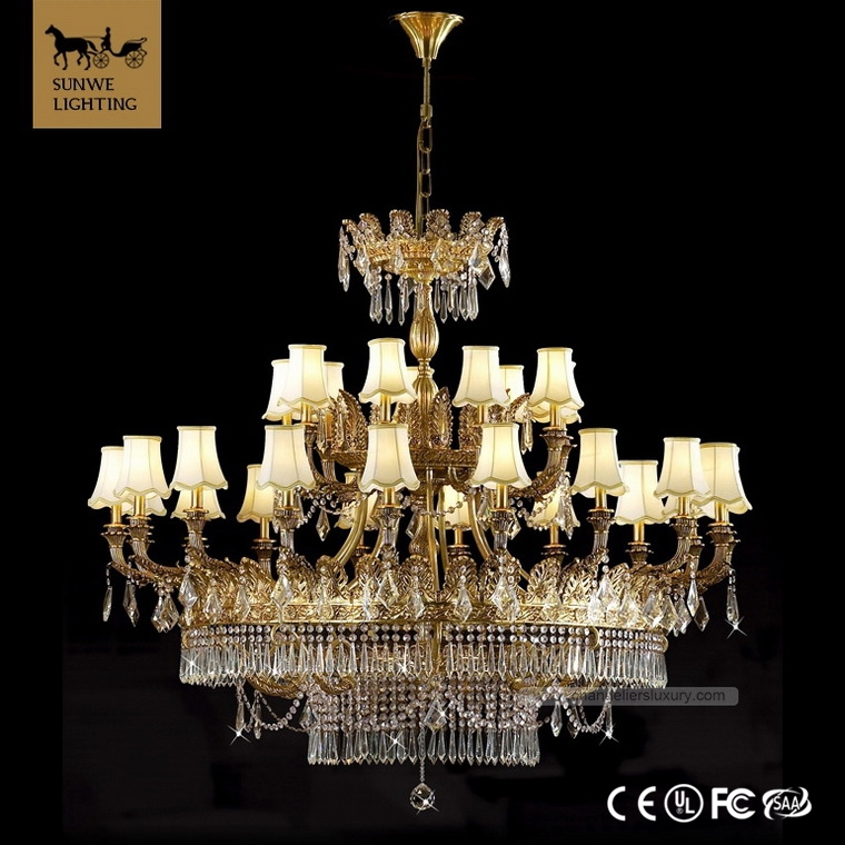 Luxury 27 Lights big size large bronze asfour crystal chandelier lighting