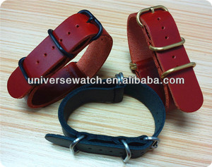 Hot sale custom leather NATO watch strap UN1678-1 stainless steel hardware