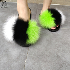 2019 Latest design OEM US size colorful real fuzzy fur slides women fox fur slippers