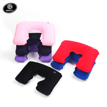 Hot sale cheap Flocking PVC U shape inflatable travel neck support camping air pillow