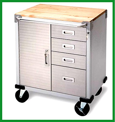 Rolling 4 Drawer Storage Cabinet Garage Heavy Duty Stainless Steel Metal Construction Tool Box Work Bench - House Deals