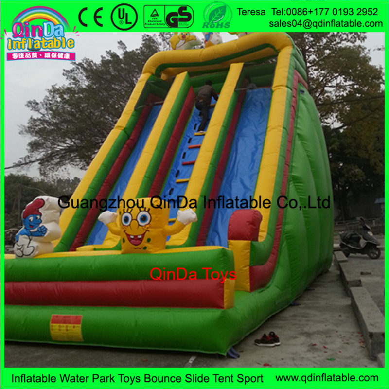 Cartoon Tow Lanes of Blow up Water Slide Water Slide for Gymnova Gymnastics Equipment