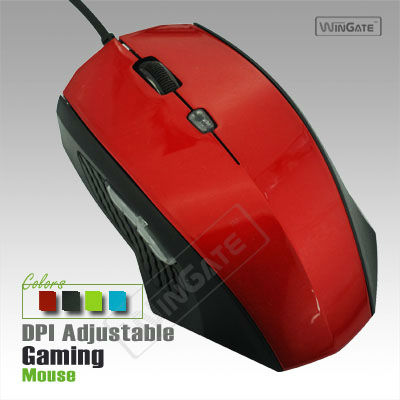 1000 DPI Wir ed Gam ing USB Opti cal Iron Mouse With Blue LED Lig ht-Red