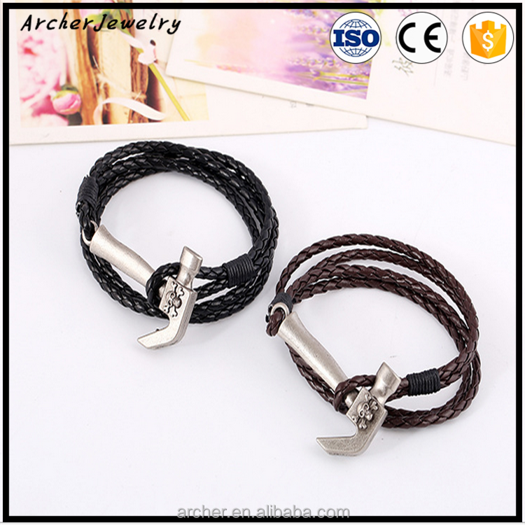 handmade punk design woven pu bangle with small hammer decoration braided pu leather bracelet wholesale BH-74