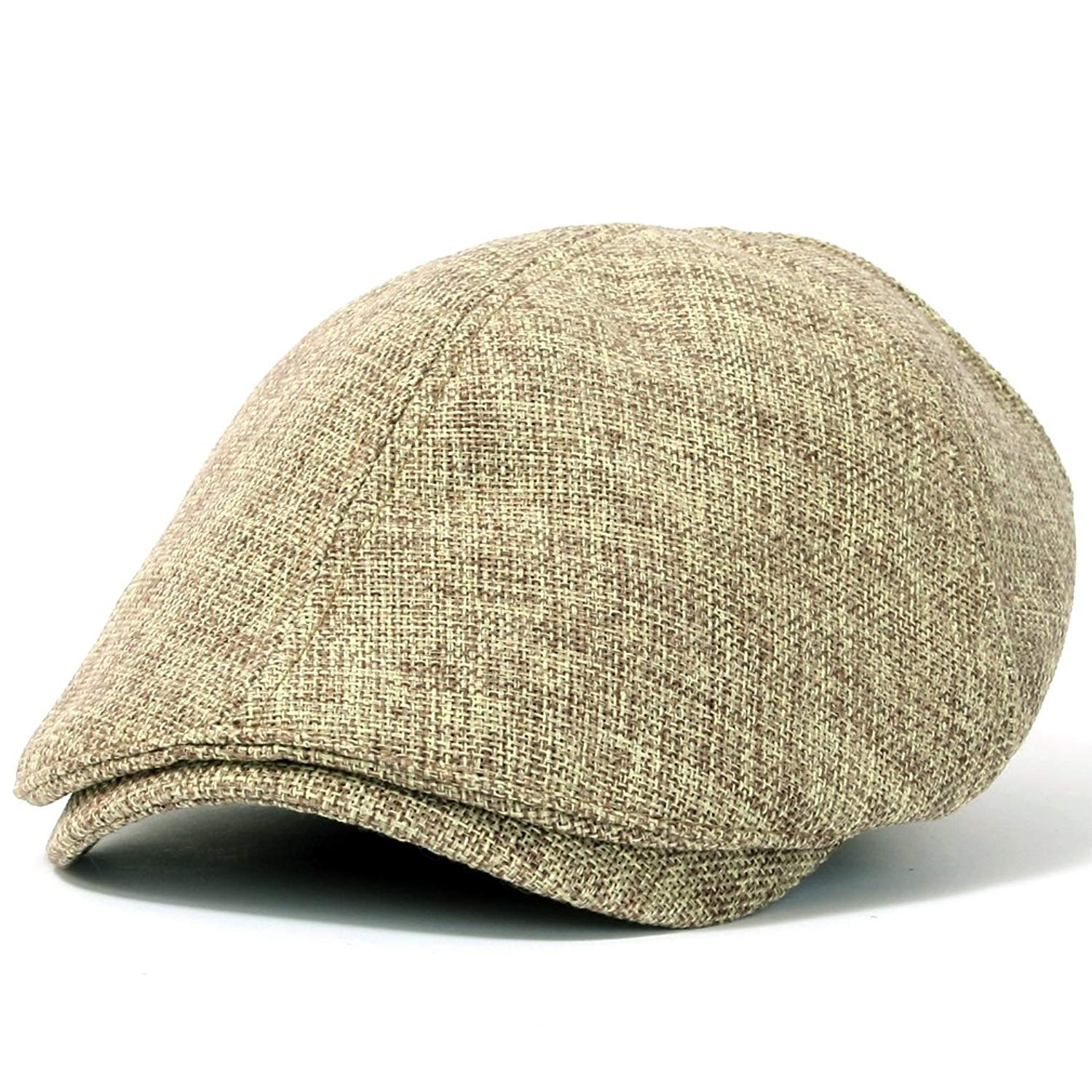ililily Linen-like Flat Cap Cabbie Hat Gatsby Ivy Irish Hunting Stretch Newsboy