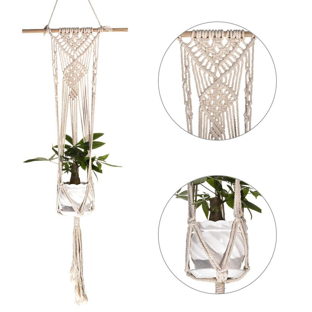 Plant Hanger,Sundlight Indoor Outdoor Macrame Hanging Planter Basket Handmade Cotton Rope with Wooden Stick Wall Art Without Pots,40cm x 100cm