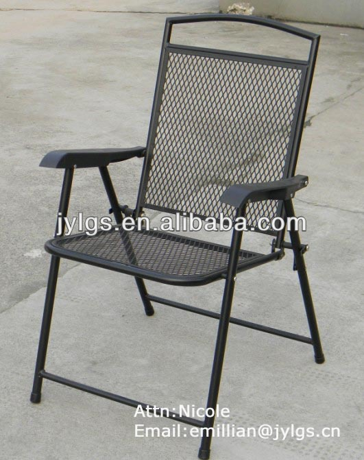 Cheap Metal Mesh Outdoor folding steel chair with plastic arms
