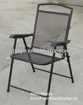 Charmant Cheap Metal Mesh Outdoor Folding Steel Chair With Plastic Arms