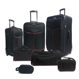 hot selling black 900D polyester softside large size luggage sets with bags