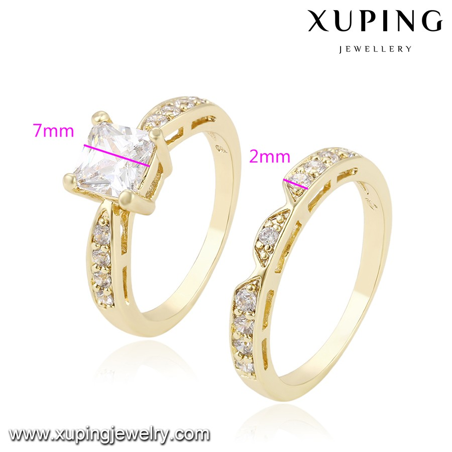 Free Sample 13686 Xuping New Design Gold Wedding Rings For Women Synthetic Diamond Jewellery