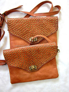 686644173f5 Gorgeous Moroccan Handmade Tan Genuine Leather Studded Purse - Buy ...