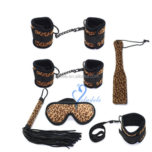 Wholesale Leopard Print Factory Made Bondage Gear Restraint Handcuffs&Ankle cuffs,SM Sex Toys Paddle and Collar Whip