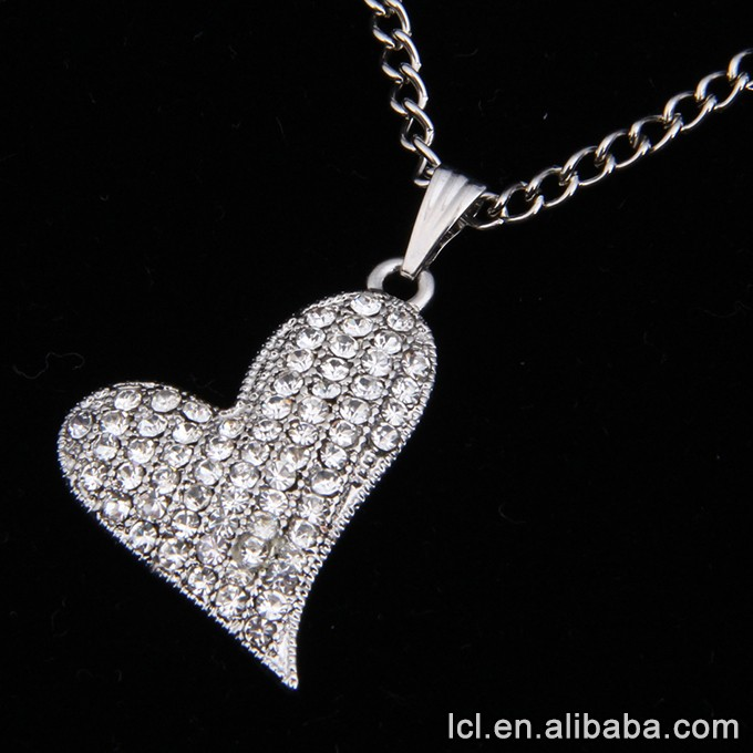 Imitation silver diamond necklaces with 3 hearts pendant, necklaces for couples