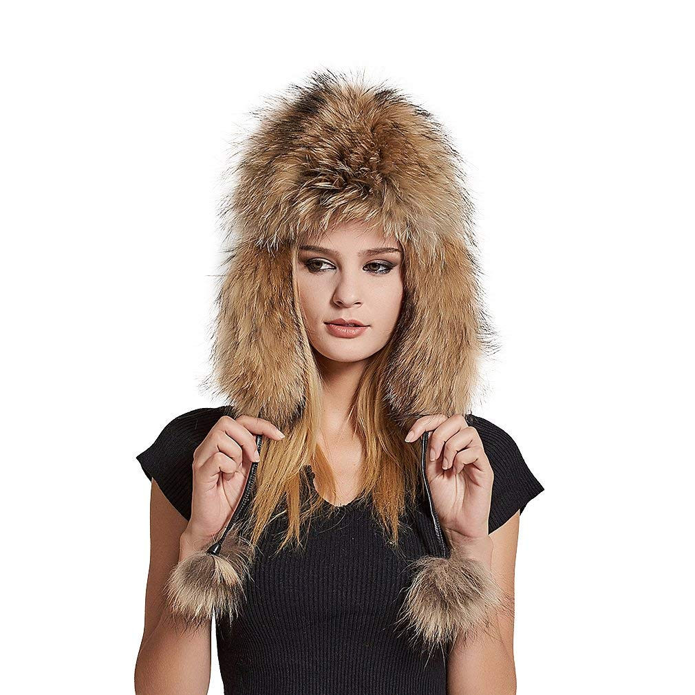 5608809a29c16 Get Quotations · Fur Story Women s Trapper Hat with Sheep Leather Earmuffs  Warm Winter Fox Fur Hat