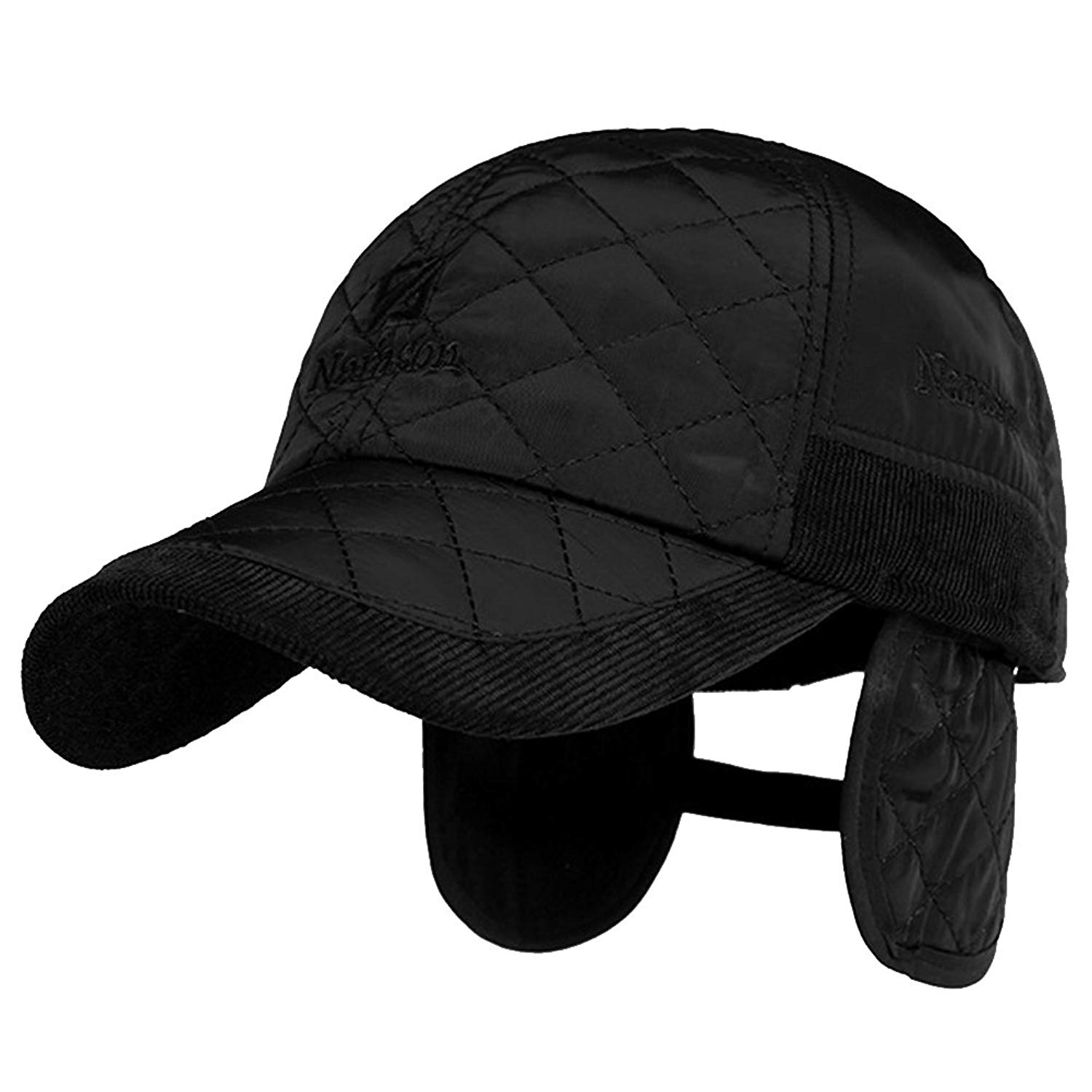 Men's Winter Cotton Padded Fleece Lining Quilting Plaid Peaked Hat Cap Earmuffs