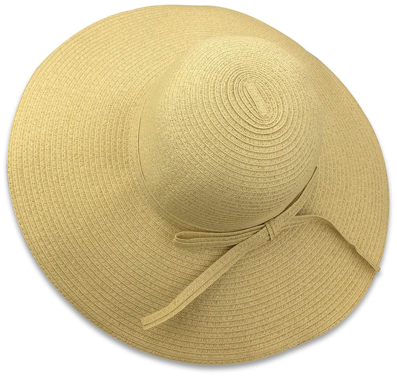 7e147aa48ad Get Quotations · Livativ Bleu Nero Luxury Floppy Hat Beach Sun Hat for Women  – Straw Hat Wide Brim