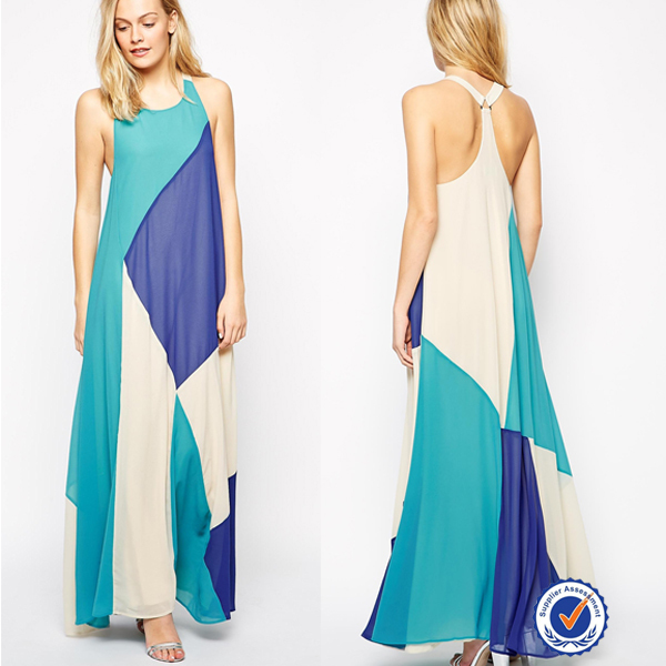 Fully Lined Colour Block Panels Wholesale Ladies Maxi Dress ...
