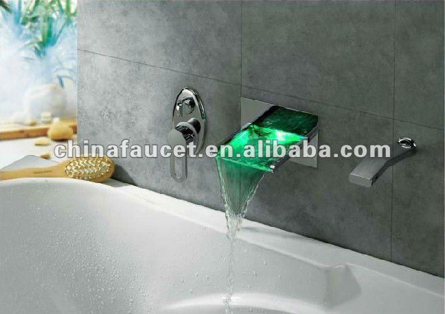 LED Waterfall Tub Faucet with Pull-out Hand Shower Wall Mount (QHTW03)