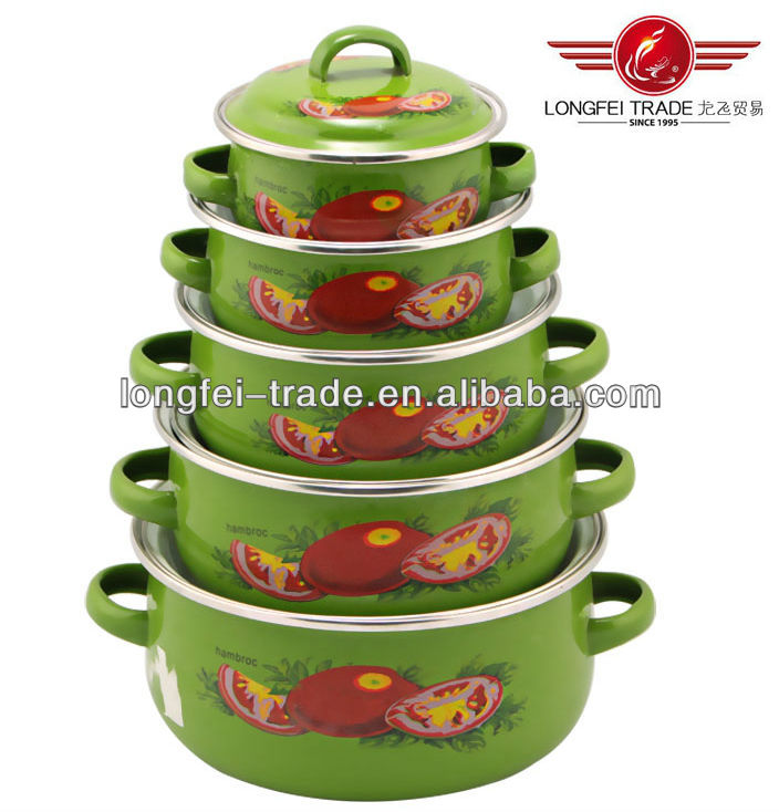5pcs enamel casserole set /5pcs happy lady s/s casserole set